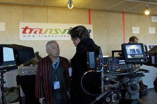 Willy Kurant, avec Jacques Delacoux, sur le stand Transvideo