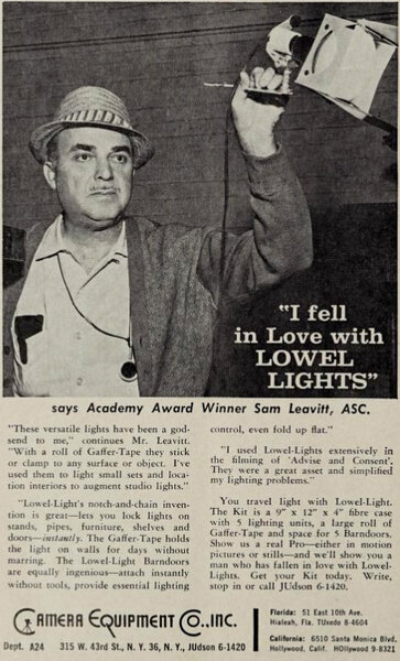 "Advertisement published in the ""American Cinematographer"" in January 1962"