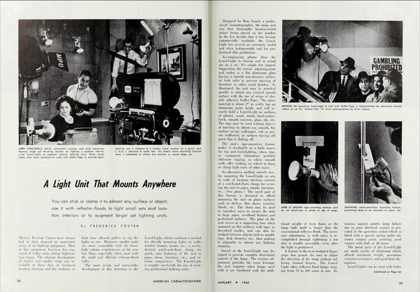 "Article published in the ""American Cinematographer"" in January 1960"
